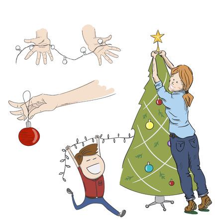 christmas tree illustration: Christmas tree decoration. Hand drawn vector illustration