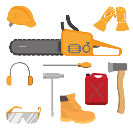 construction helmet: Chainsaw and accessories flat style set.