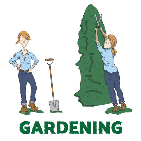 woman gardening: Gardening. Young woman standing next to spade and cutting bush. Vector illustration