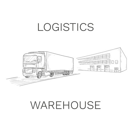Logistics sign with truck and warehouse vector illustration Ilustrace