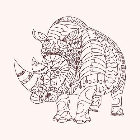 rhino vector: Patterned rhino style. EPS10 vector illustration