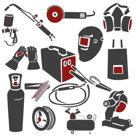 machine gun: A set of welding and metal works icons.  Illustration