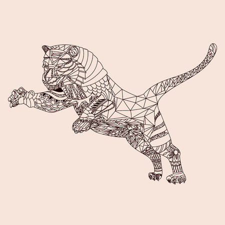 lion dessin: Tiger motifs Illustration