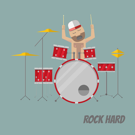 Flat style drummer in trucker hat playing drums.