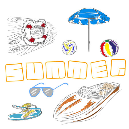 boat motor: Summer set hand drawn lifebuoy, beach umbrella, volleyball, sunglasses, slippers, motor boat.