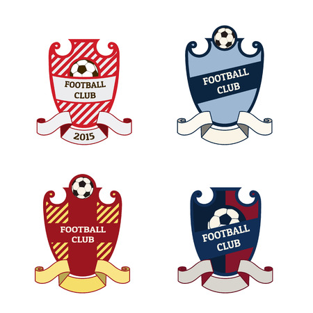 Set of football soccer crests with ribbons and soccer ball. Vektorové ilustrace