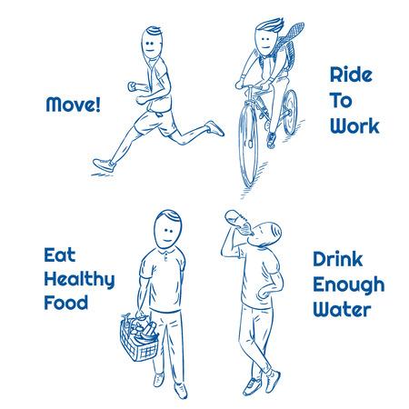 platano caricatura: sano conjunto doodle de estilo de vida. Correr, andar en bicicleta, comer alimentos saludables, el agua potable.