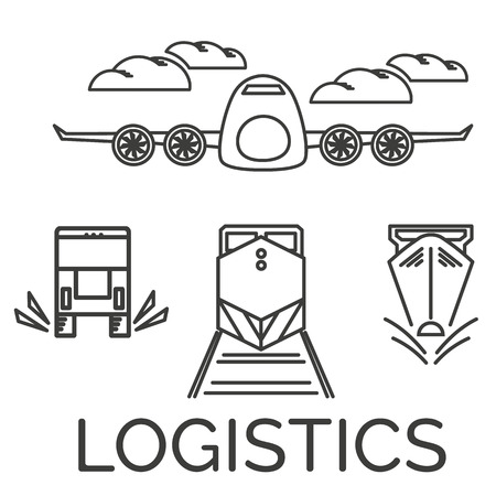 Logistics icons set. Airplane, truck, train and ship.