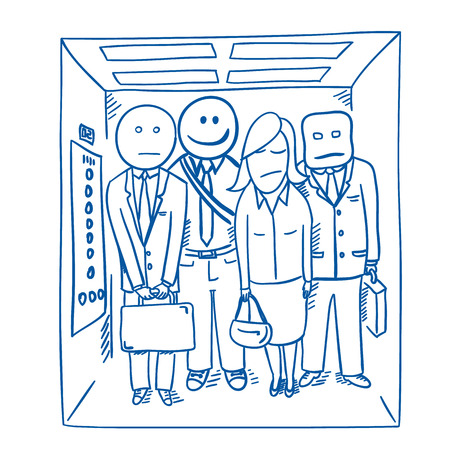 unhappy worker: Good morning elevator Illustration