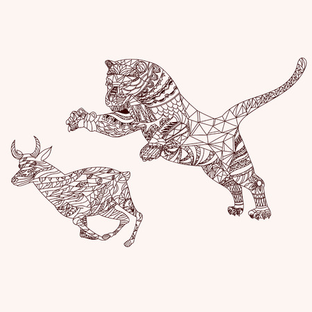 antelope: Patterned tiger and antelope