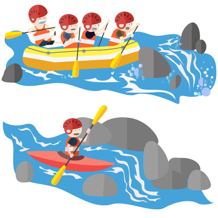 Rafting and kayaking sport flat style vector illustration
