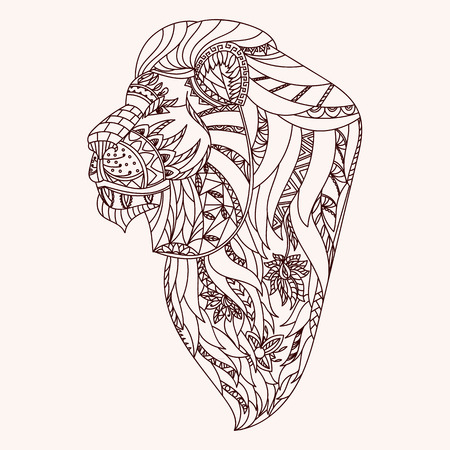 cat drawing: Patterned lion head.  Vectores