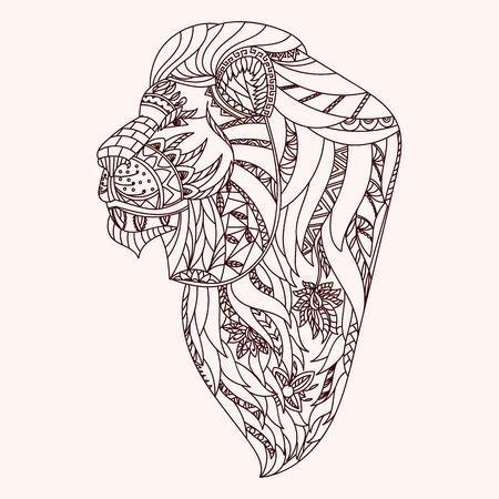 lion dessin: Tête de lion à motifs. Illustration