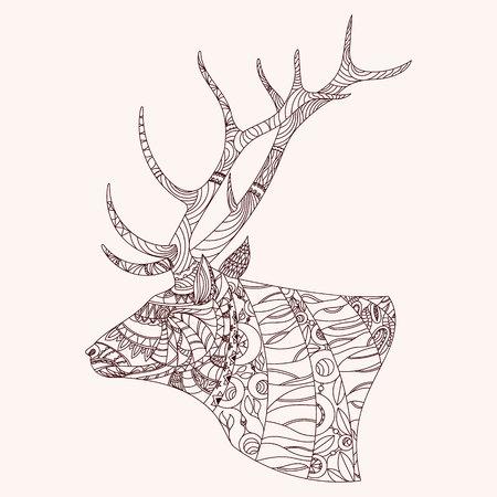 zen vector: Patterned deer head.