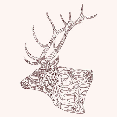 zen: Patterned deer head.