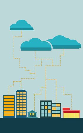 data exchange: Cloud data exchange with cityscape and clouds.  Illustration