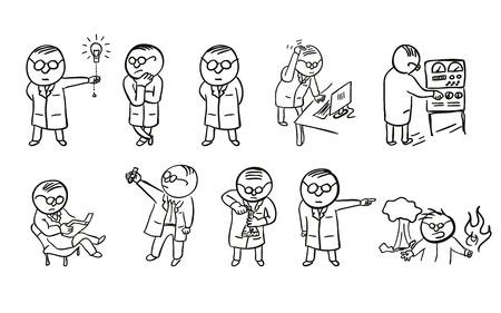 A set of doodle scientist character Vektorové ilustrace
