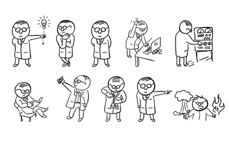 Un insieme di carattere scienziato Doodle Vettoriali