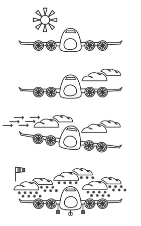 conditions: Flight weather conditions signs set.  Illustration