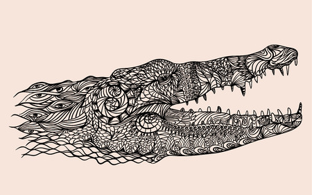 predators: stylized crocodile head vector illustration