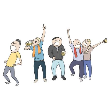 celebrating: Football fans celebrating victory.