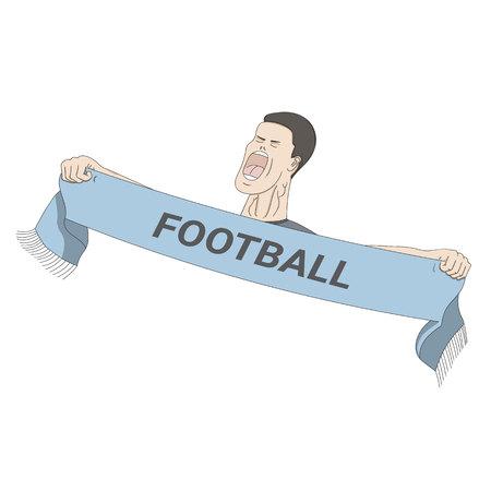 aficionado al fútbol gritando con un pañuelo en sus manos. Ilustración de vector