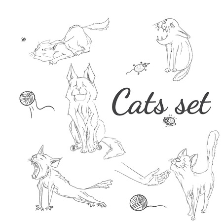 clew: Hand drawn sketchy cats set. Vector illustration