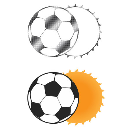 Football sun eclipse. Sign for the start of championship