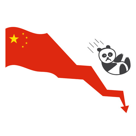 Chinas economy bubbles. Hand drawn vector illustration