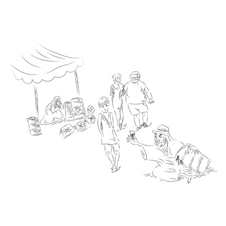 sketchy illustration: Oil prices going down. Arabian sellers sell oil at local market. Hand drawn sketchy illustration
