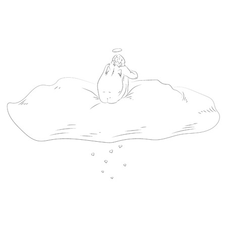 sketchy illustration: St Valentine sitting on the cloud sketchy illustration