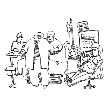anesthesia: Anesthesiologist resting during operation illustration