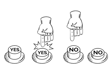 yes no: YES NO buttons with hand illustration