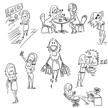 retail therapy: Set of sketchy woman illustration. Illustration