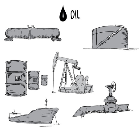 Set of oil industry objects illustration
