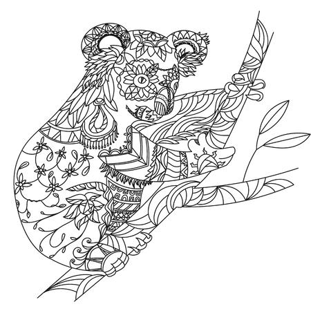 koala: Zentangle patterned koala bear sitting on eucalyptus. EPS10 vector illustration