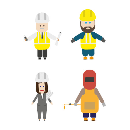 laborer: Set of construction team members. Engineer, general laborer, architect, welder. Flat style vector