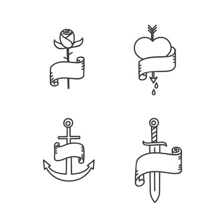Old school Tattoo-Stil-Abbildungen. Rose, Herz mit Pfeil, Anker und Schwert. EPS10 Vektor