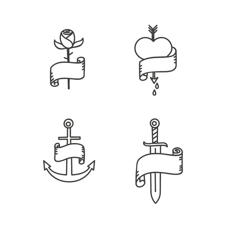 roses and blood: Old school tattoo style illustrations. Rose, heart with arrow, anchor and sword. EPS10 vector