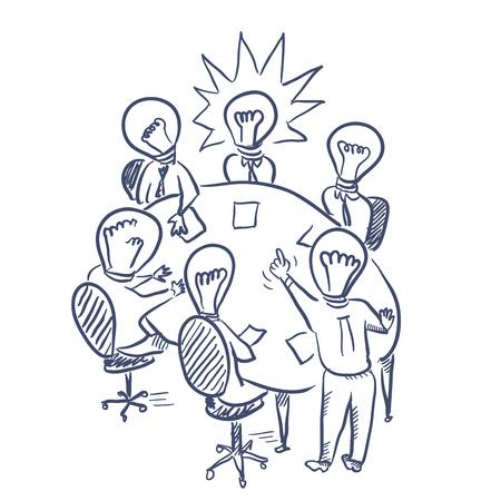 Brainstorming meeting vector sketch hand drawn illustration Ilustrace