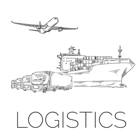 Logistics sign with plane, trucks and container ship vector hand drawn illustration Illustration