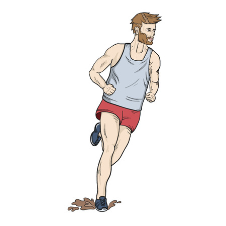 cross country: Cross country running hand drawn  sketchy Illustration