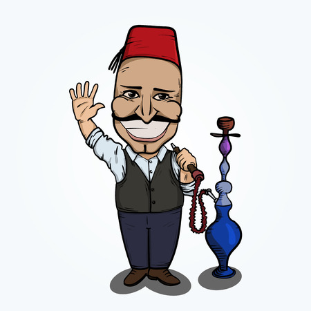 waterpipe: Turkish man with hookah waving hand. Hand drawn illustration. Illustration