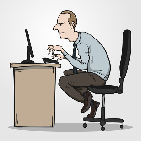 Bad sitting posture as the reason for office syndrome.