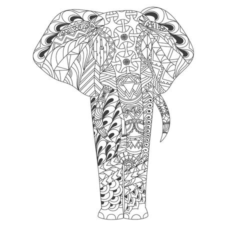 Patterned elephant inspired style illustrion Ilustrace