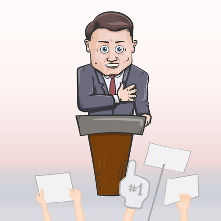 campaign promises: Politician making speach. Vector hand drawn illustration