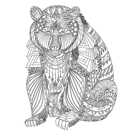 Patterned bear inspired style. Vector illustration