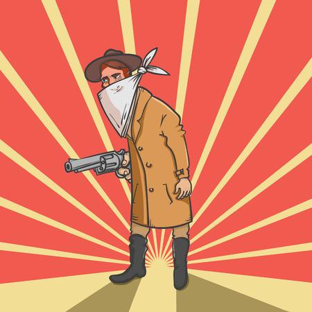 Wild west robber with gun hand drawn vector illustration