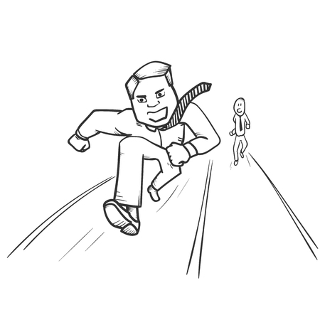 Worker runnig. Business competition concept. Hand drawn illustration