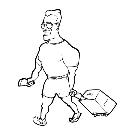 musculine: Travelling man goes with bag. Hand drawn illustration Illustration